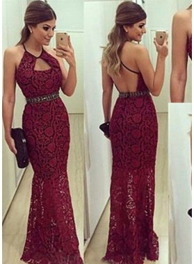 2019 Gorgeous Red Halter Sleeveless Floor-Length/Long Mermaid/Trumpet Lace Prom Dresses