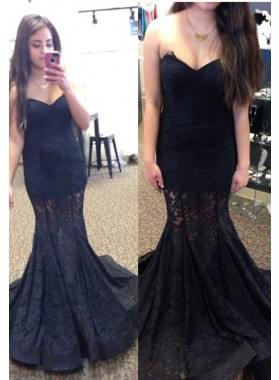 2019 Junoesque Black Sweetheart Sleeveless Mermaid/Trumpet Lace Prom Dresses
