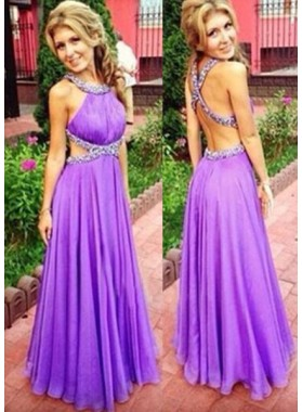 Column/Sheath Halter Sleeveless Empire Backless Floor-Length/Long Chiffon Prom Dresses