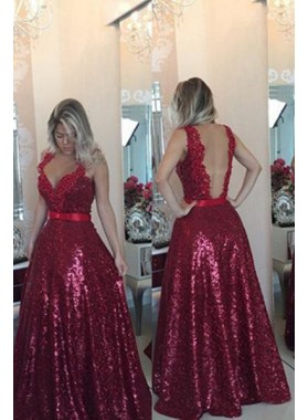 Burgundy Prom Dresses A-Line/Princess Straps Floor-Length/Long Sequins