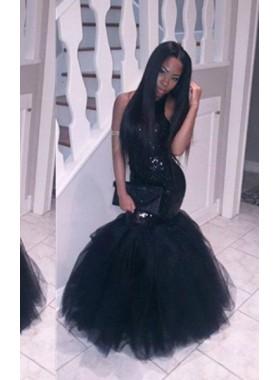 2018 Junoesque Black Sequins Halter Mermaid/Trumpet Tulle Prom Dresses