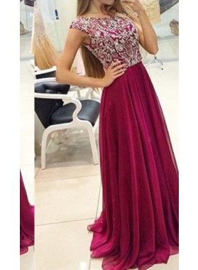 2018 Gorgeous Red Cheap Prom Dresses Sweep/Brush Train Sequins Chiffon