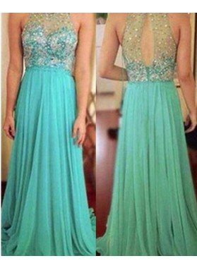 Column/Sheath High Neck Sleeveless  Floor-Length/Long Chiffon Prom Dresses