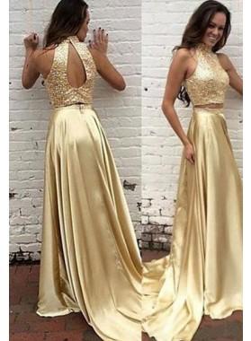 Sequins High Neck Sweep/Brush Train A-Line/Princess Satin Gold Prom Dresses