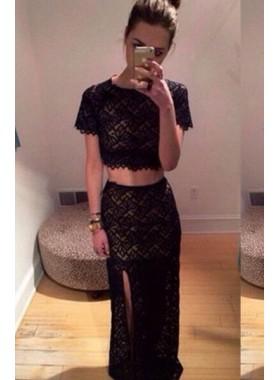 2019 Junoesque Black Split Front Short Sleeves Column/Sheath Lace Prom Dresses