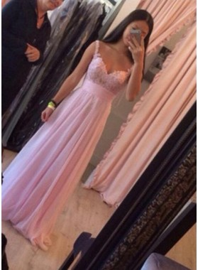 Floor-Length/Long Column/Sheath Straps Chiffon 2019 Glamorous Pink Prom Dresses