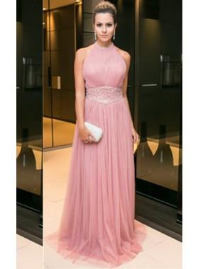 2019 Glamorous Pink Halter Crystal Detailing A-Line/Princess Chiffon Prom Dresses