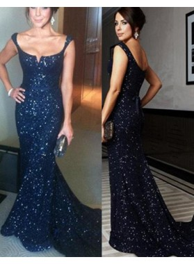 LadyPromDress 2019 Blue Floor-Length/Long Mermaid/Trumpet Straps Sequined Prom Dresses
