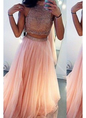 A-Line/Princess High Neck Sleeveless Sweep/Brush Train Tulle 2019 Glamorous Pink Prom Dresses