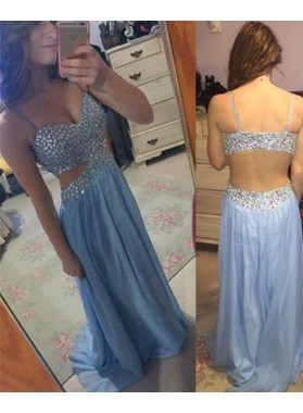 Light Sky Blue Floor-Length/Long Column/Sheath Spaghetti Straps Chiffon Prom Dresses