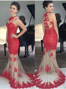 2021 Gorgeous Red Prom Dresses Floor-Length/Long Mermaid/Trumpet Sleeveless Lace