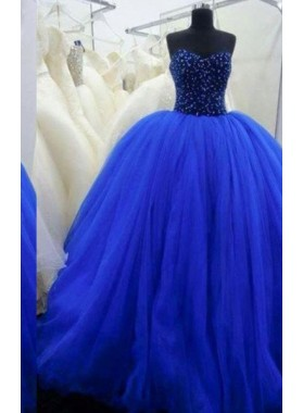LadyPromDress 2019 Blue Beading Sweetheart Ball Gown Tulle Prom Dresses