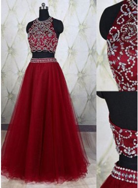 Burgundy Crystal Detailing Floor-Length/Long A-Line/Princess Tulle Prom Dresses