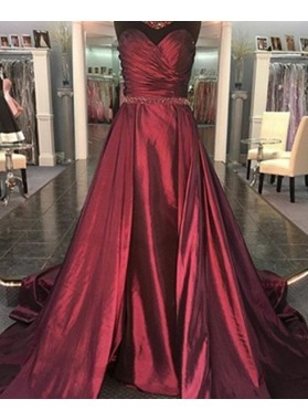 2018 Gorgeous Red Sexy Sweetheart Ruching A-Line/Princess Taffeta Prom Dresses
