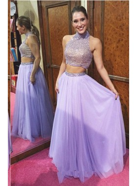 Beading Floor-Length/Long A-Line/Princess Two Pieces Chiffon Lilac Prom Dresses