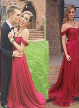 Burgundy Floor-Length/Long A-Line/Princess Off-the-Shoulder Chiffon Prom Dresses