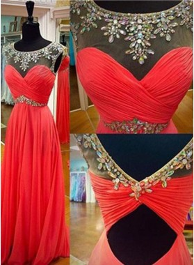 2019 Gorgeous Red Floor-Length/Long Column/Sheath Beading Chiffon Prom Dresses