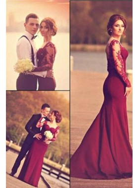 2019 Gorgeous Red Mermaid/Trumpet Sweetheart Stretch Satin Prom Dresses
