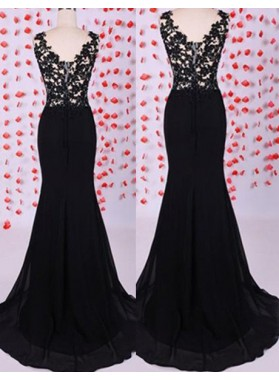 2019 Junoesque Black Floor-Length/Long Mermaid/Trumpet Appliques Bateau Chiffon Prom Dresses