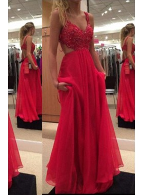 2019 Gorgeous Red A-Line/Princess Spaghetti Straps Sleeveless Sweep/Brush Train Chiffon Prom Dresses