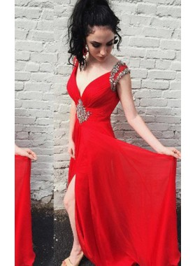 2019 Gorgeous Red Beading V-Neck Sleeveless A-Line/Princess Chiffon Prom Dresses