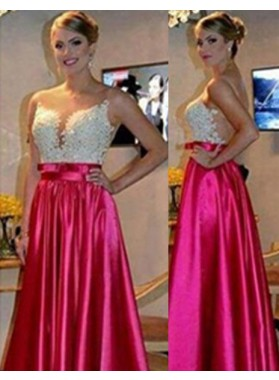 A-Line/Princess Sleeveless Natural Zipper Floor-Length/Long Stretch Satin Fuchsia Prom Dresses