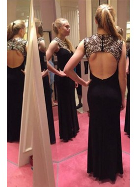 2019 Junoesque Black A-Line/Princess Sleeveless Natural Backless Floor-Length/Long Chiffon Beading Prom Dresses