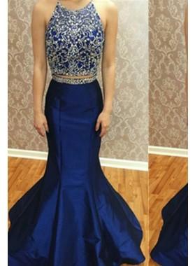 Royal Blue Crystal Detailing Halter Mermaid/Trumpet Satin Prom Dresses