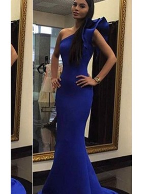 LadyPromDress 2019 Blue One Shoulder Flower Mermaid/Trumpet Satin Prom Dresses