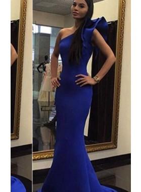 LadyPromDress 2019 Blue One Shoulder Flower Mermaid/Trumpet Satin Prom Dresses