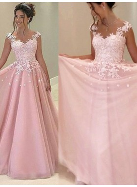 2020 Glamorous Pink Appliques V-Neck A-Line/Princess Tulle Prom Dresses