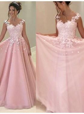 2019 Glamorous Pink Appliques V-Neck A-Line/Princess Tulle Prom Dresses