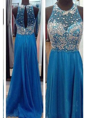 LadyPromDress 2019 Blue A-Line/Princess Halter Sleeveless Floor-Length/Long Chiffon Prom Dresses
