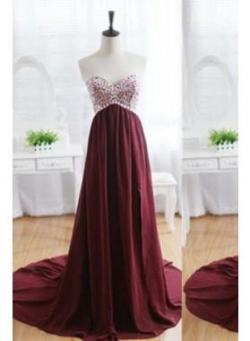 Floor-Length/Long Sweetheart A-Line/Princess Chiffon Prom Dresses