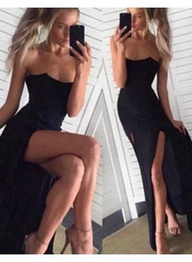 2019 Junoesque Black Mermaid/Trumpet Strapless Sleeveless Natural Backless Floor-Length/Long Satin Chiffon Prom Dresses