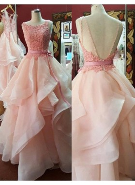 Sleeveless Round Neck Layers Floor-Length/Long Backless A-Line/Princess Prom Dresses