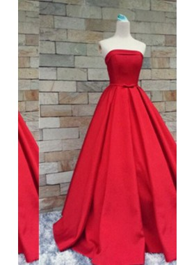 2019 Gorgeous Red Floor-Length/Long A-Line/Princess Strapless Floor-Length/Long Satin Prom Dresses