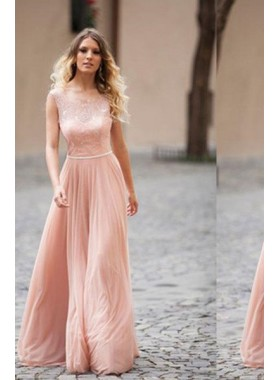 Blush Pink A-Line/Princess Lace Spliced Sleeveless Floor-Length/Long Chiffon Prom Dresses