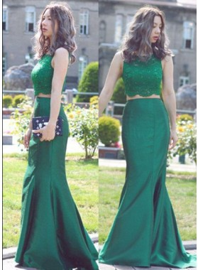 Beading Mermaid/Trumpet Satin Two Pieces Hunter Prom Dresses
