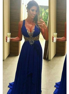 Royal Blue Column/Sheath Straps Sleeveless Natural Zipper Floor-Length/Long Chiffon Prom Dresses