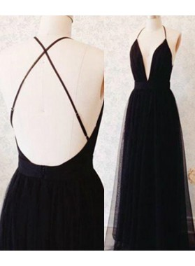 2019 Junoesque Black A-Line/Princess Halter Sleeveless Natural Backless Floor-Length/Long Tulle  Prom Dresses