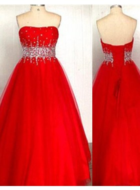 2019 Gorgeous Red A-Line/Princess Sweetheart Sleeveless Empire Lace-up Floor-Length/Long Taffeta Prom Dresses