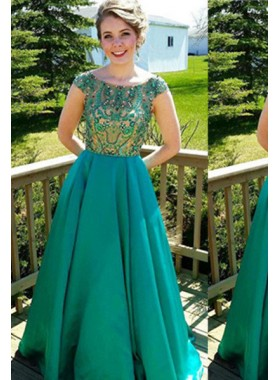 Teal Capped Sleeves Beading A-Line/Princess Satin Prom Dresses