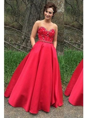2019 Gorgeous Red Floor-Length/Long A-Line/Princess Strapless Crystal Detailing Satin Prom Dresses