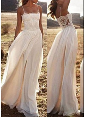 2019 Unique White A-Line/Princess Spaghetti Straps Sleeveless Natural Zipper Floor-Length/Long Chiffon Prom Dresses