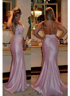 2019 Glamorous Pink Strapless Mermaid/Trumpet Stretch Satin Prom Dresses
