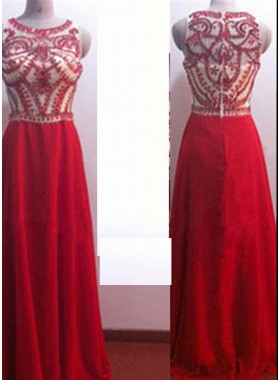 2019 Gorgeous Red A-Line/Princess Sleeveless Zipper Floor-Length/Long Crystal Detailing Chiffon Prom Dresses