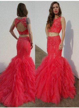 Appliques Mermaid/Trumpet Organza Two Pieces 2019 Gorgeous Red Prom Dresses