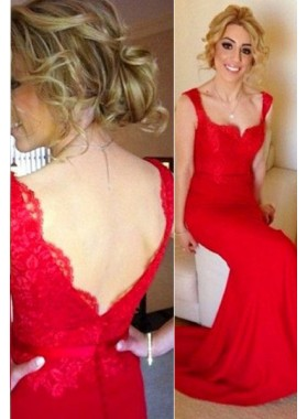 2019 Gorgeous Red Straps Lace Spliced Mermaid/Trumpet Stretch Satin Prom Dresses