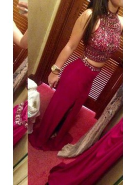 Column/Sheath Jewel Sleeveless Natural Zipper Floor-Length/Long Chiffon Prom Dresses